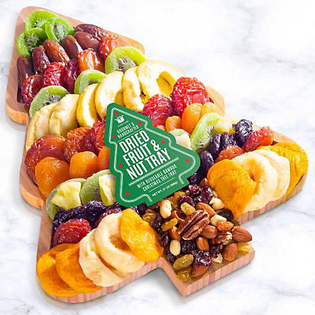 Golden State Fruit Seasons Greetings Dried Fruit N Nuts On Bamboo Tray, AP8090
