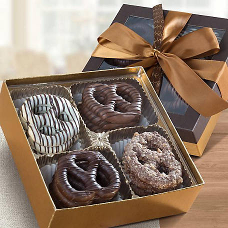 CY Chocolates Chocolate Dipped Giant Pretzel Gift Box, CY1023R