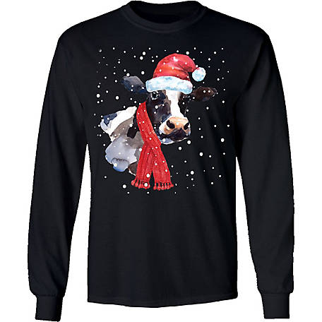 Farm Fed Clothing Men's Moo Xmas Long Sleeve Christmas Shirt, TSC1094