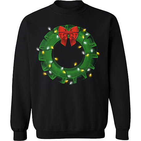 Farm Fed Clothing Men's Tractor Wire Wreath Christmas Fleece, TSC1100