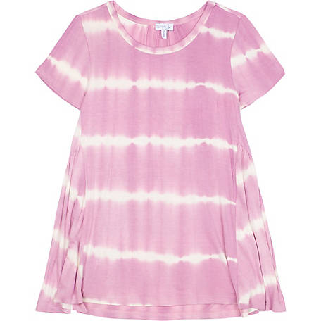 Olivia Sky Women's Tie Dye Babydoll Short Sleeve Shirt, KM004 TO