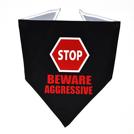 Yellow Dog Design Caution Beware Aggressive Sign Bandana, BBSS520