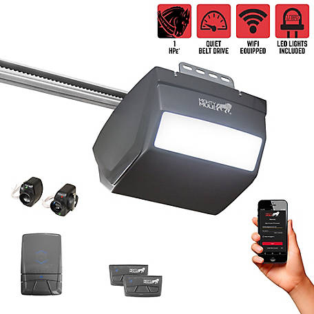 Mighty Mule 1 HP DC Smartphone Controlled Garage Door Opener with LED Lighting and Ultra-Quiet Belt Drive, MM9434K