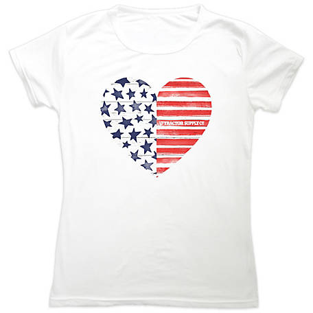Tractor Supply Unisex Girl's Short Sleeve Patriotic Heart T-Shirt