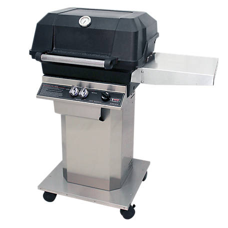 MHP Outdoor Grills American Classic Single Shelf Propane Stainless Steel Columnbase Grill, AMCJSS-P