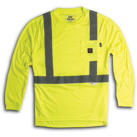 Walls Outdoor Goods Unisex HI-VIS ANSI II Long Sleeve Safety T-Shirt