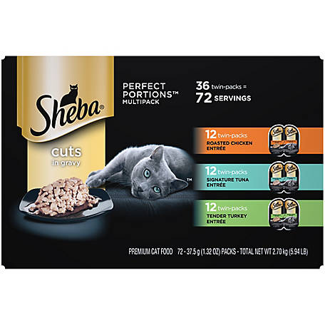 Sheba PERFECT PORTIONS Wet Cat Food Cuts, Gravy Roasted Chicken, Tuna, & Tender Turkey 36 ct. Multipack, 2.6 oz, 5.94 lb.