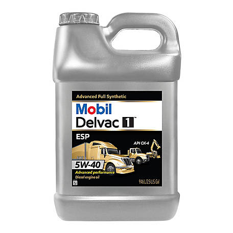 Mobil Delvac 1 ESP Heavy Duty Full Synthetic Diesel Engine Oil 5W-40, 2.5 gal., 125419