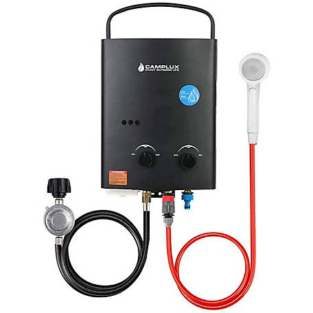 Camplux Enjoy Outdoor Life 5 L 1.32 GPM Propane Tankless Water Heater, Black, AY132B