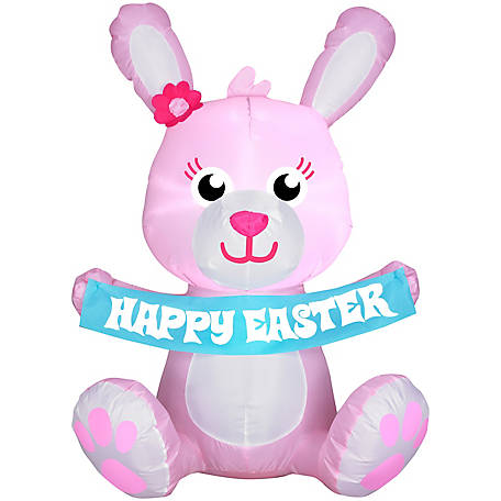 Gemmy Airblown Outdoor Happy Easter Pink Bunny, G-44085