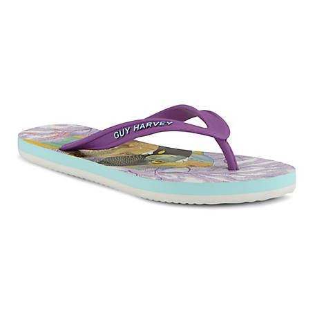 GUY HARVEY Women's Cayman Angelfish Flip Flops, GHWCAYMARR