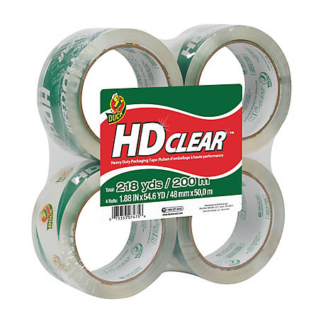 Duck 1.88 in. x 54.6 yd. HD Clear Pack Tape, 4 Pack, 240378