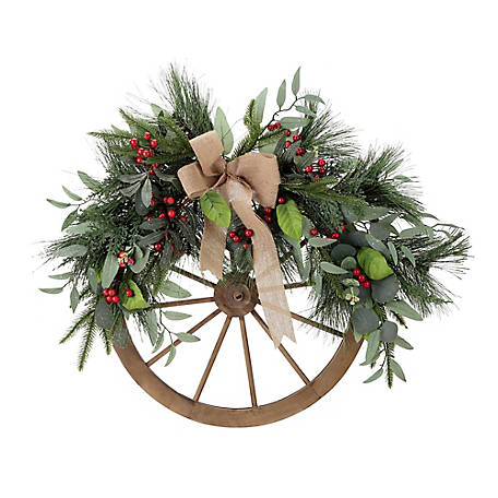 Red Shed Wagon Wheel with Holiday Wreath