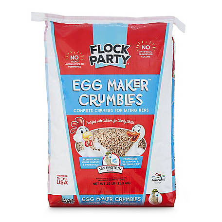 Flock Party Egg Maker Layer Crumbles, 25 lb., 1030585
