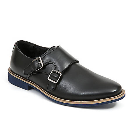 Deer Stags Boy's Harry Dress Comfort Fashion Hook and Loop Easy Enclosure Double Monk Strap Shoe