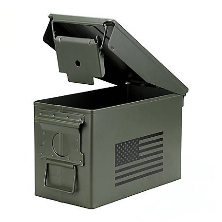 treeline Metal Ammo Can, Flag Design, Army Green, 2811S743AG