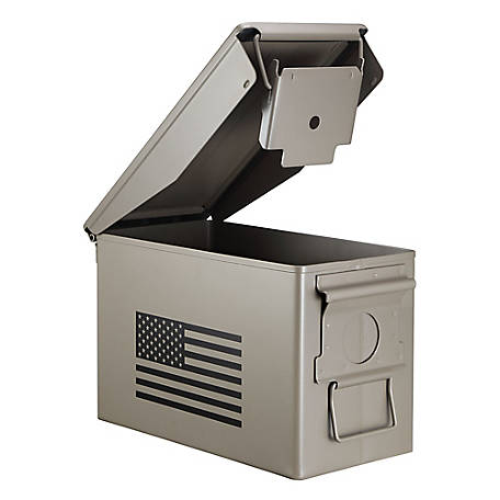 treeline Metal Ammo Can with Flag Design, Tan, 2811S743T