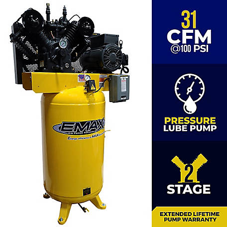 EMAX 7.5 HP 80 Gal Industrial Air Compressor, EI07V080V1