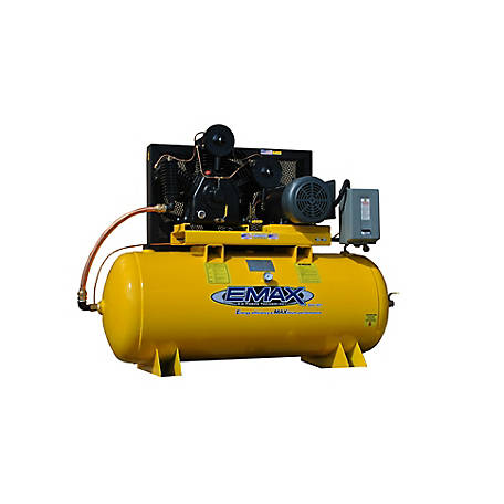 EMAX 10 HP 120 gal. Single Phase 3 Cycle Horizontal Compressor, EP10H120Y1