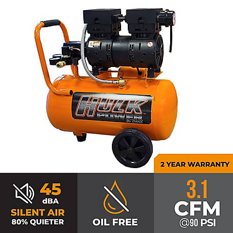Hulk Power by EMAX 1 HP 6 gal. Silent Air Compressor, HP01P006SS