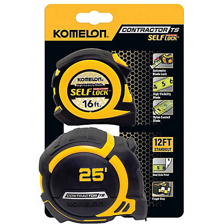 Komelon 25 ft. x  1.25 Contractor TS and 16 ft. Self Lock Tape Measure, 79425EV