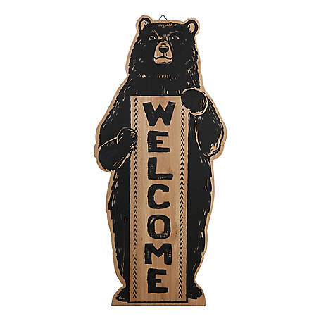 Red Shed Wood Bear Welcome Sign