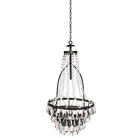 Garden Meadow 32.79 in. Solar LED Metal and Acrylic Beaded Chandelier