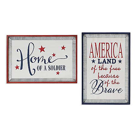 Gerson International 36 2 In L Wood Americana Wall Decor Set Of 2 2510270ec At Tractor Supply Co