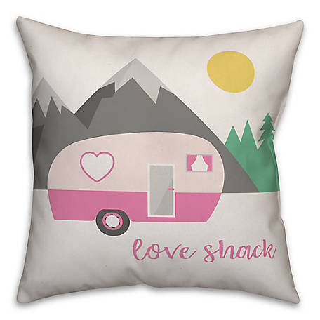 Designs Direct Love Shack Camper 18 in. x 18 in. Throw Pillow