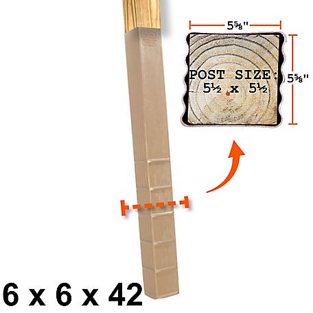 Post Protector 6 in. x 6 in. x 42 in. In-Ground Post Decay Protection, 6642