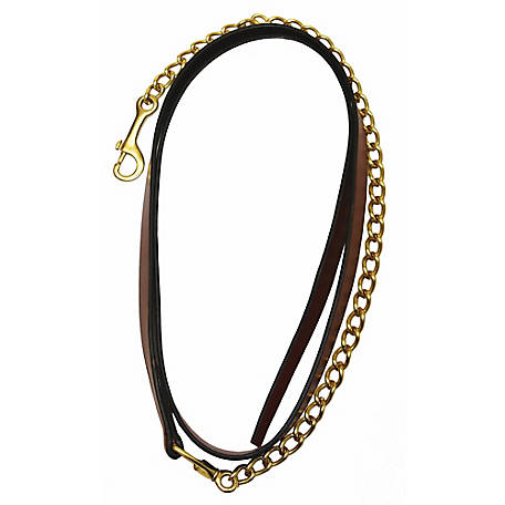 Henri de Rivel Pro Collection Leather Lead with 24 in. Solid Brass Chain, 5037, 5037-08U