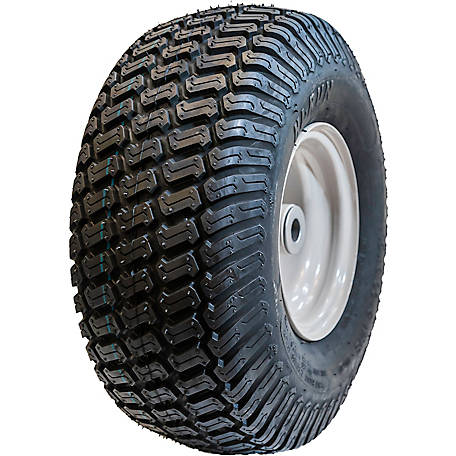 Hi-Run Lawn & Garden Tire Assembly 15 in. x 6.50-8 in. 4PR SU05 on 8 in. x 5.375 in. Grayish White Wheel, ASB1164