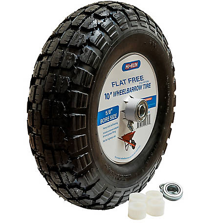 Hi-Run Wheelbarrow Tire Assembly 10 in. Flat Free with Universal Bearing Kit And Grease Fitting (Stud), WB1002