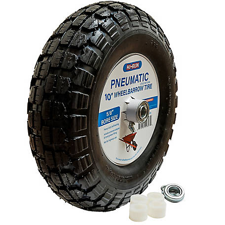 Hi-Run Wheelbarrow Tire Assembly 10 in. Pneumatic with Universal Bearing Kit And Grease Fitting (Stud), WB1003