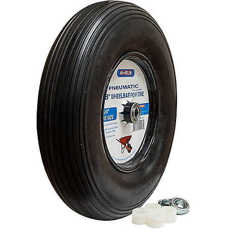 Hi-Run Wheelbarrow Tire Assembly 8 in. Pneumatic with Universal Bearing Kit And Grease Fitting (Rib), WB1001