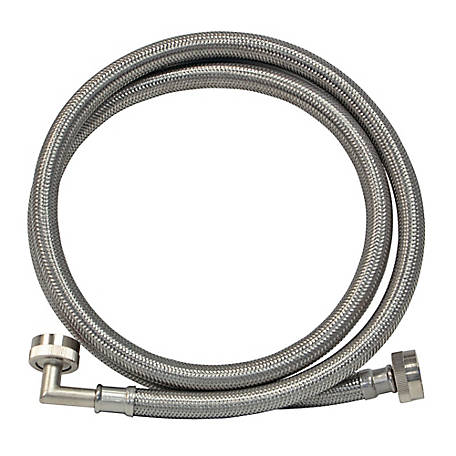 Eastman 4 ft. Braided Stainless Steel Washing Machine Connector with Elbow, 48373