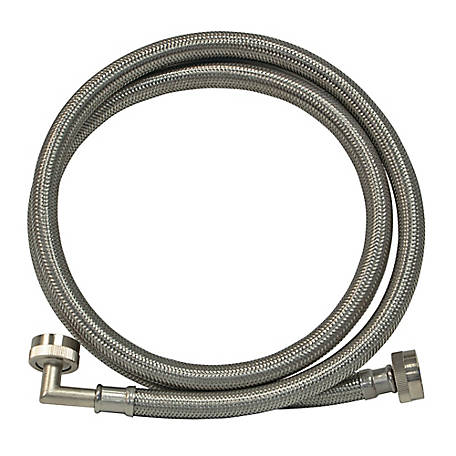 Eastman 6 ft. Braided Stainless Steel Washing Machine Connector with Elbow, 48375