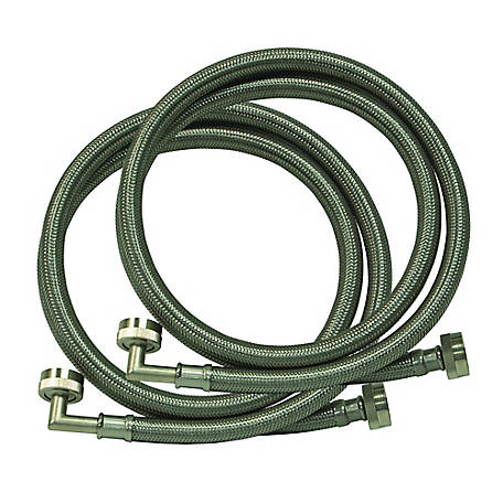Eastman 4 ft. Braided Stainless Steel Washing Machine Hoses with Elbows, 2-Pack, 48376