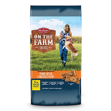 MuttNation On The Farm Oven baked biscuit with Peanut Butter & Molasses, 3 lb. Bag