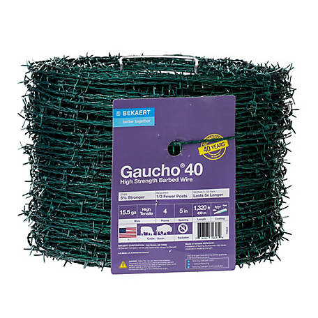 Gaucho 15.5 ga. 4-Point High Tensile Barbed Wire, Green, 1,320 ft., 127139
