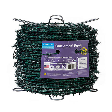 Bekaert Cattleman Pro High Tensile Barbed Wire 4 pt. 14 ga., Green, 135464