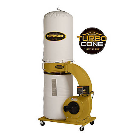 Powermatic PM1300TX-BK Dust Collector, 1.75 HP, 1Ph, with 30-Micron Bag Filter Kit, 1791078K