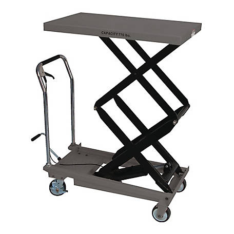 JET Double Scissors Lift Table, 51-1/8 in. Max Ht, Quick-Lift Pump, 770-lb. Capacity, 140778