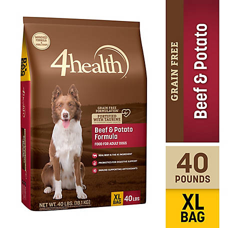 4health Grain Free Beef and Potato Formula Adult Dog Food, 40 lb. Bag