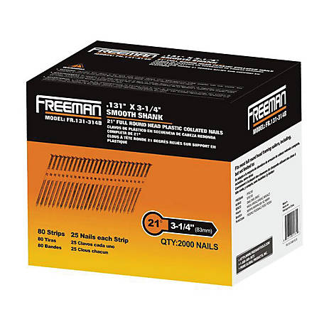 Freeman 21 deg. 3-1/4 in. Plastic Collated .131 in. Galvanized Ring Shank Framing Nails, 2,000 Count, FR.131-314B