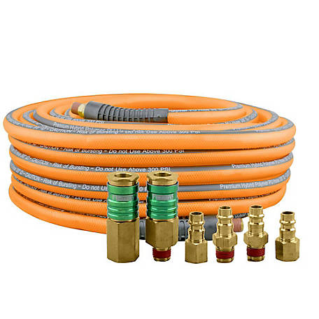 Freeman 3/8 in. x 65 ft. High Flow Polymer Hybrid Hose with 6-Piece Fitting Kit, PHF3865WF