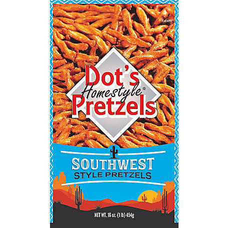 Dot's Pretzels Dusted with Fiesta, Cheddar and a Special Spice Blend of Tomato, Peppers, Onion, & Garlic, 3 Bags, 16 oz., 39316
