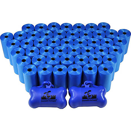 Downtown Pet Supply Bulk Pet Waste Poop Bags with 2 Dispensers, Blue, 1,000 Bags, 1000-2200-POOP-2DIS-PARENT