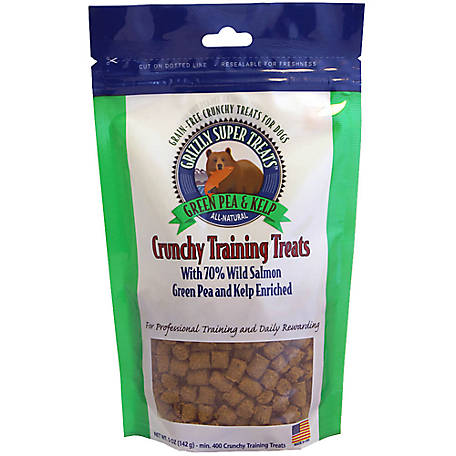 Grizzly Super Treats Crunchy Training Treats Green Pea and Kelp, 5 oz., 1 bag