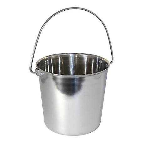 OmniPet by Leather Brothers Pail Stainless Steal Round with Rivets, 1 qt., 010LB-8361